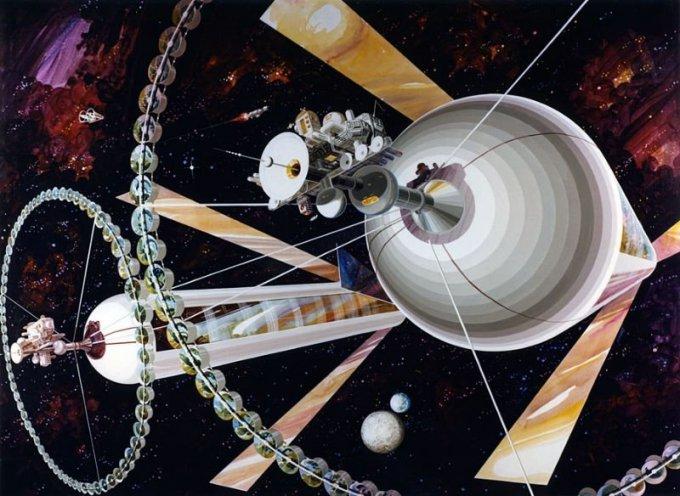 Космические колонии людей глазами художников-фантастов 70-х